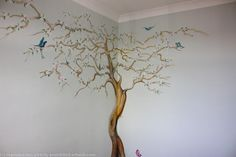 Finished Apple Blossom Tree Mural acrylics itemprop=