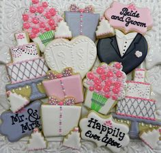 Wedding cookies Flour Box Bakery — Happily Ever After. Part of engagement gift