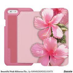 Beautiful Pink Hibiscus Flowers iPhone Wallet Case