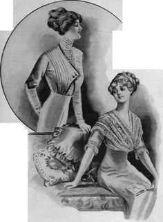 Two attractive blouses of varying styles, adapted for wear with the new form of the corselet skirt. The one above exemplifies the popular one-sided effect; that below, the simple but becoming vogue of the kerchief bodice