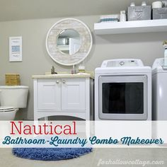 """Useful visual of wall in laundry room with washer, dryer, sink and toilet all on one wall. Ignore the """"nautical"""" aspect for me..."""