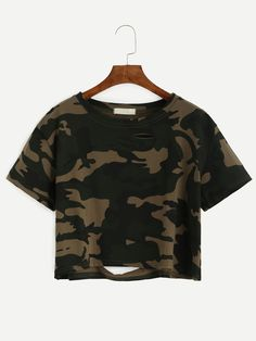 10$  Buy now - http://dizpy.justgood.pw/go.php?t=4927 - Camo Print Distressed Crop T-shirt