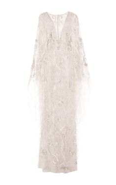 b0c1d4b45c Re-Embroidered Ostrich Feather Applique Gown