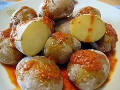 "Typical food of the Canary Islands  ""Papas con mojo, ummmm rico rico  :-) """