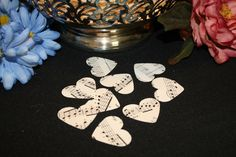 Vintage Music ~ Paper Heart Confetti ~ Medium Paper Hearts ~ Party Decoration ~ Weddings, Bridal Showers and Celebrations ~ Table Decor by ArtsyVintageBoutique on Etsy https://www.etsy.com/listing/197963628/vintage-music-paper-heart-confetti