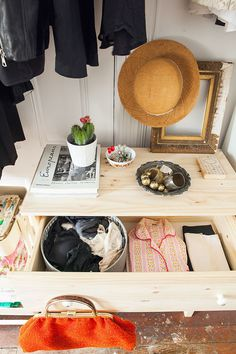 Small-space wardrobe update, with personality!   Add colour to TARVA drawers with your accessories