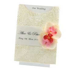 Wedding Invitation - C6 Glamour Pocket - Bouquet Ivory Pearl Orchid