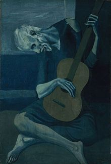 Another Picasso Blue Period Piece, The Old Guitarist, 1903. this is actually a ghost painting and if you see and xray of this it is super scary... but cool