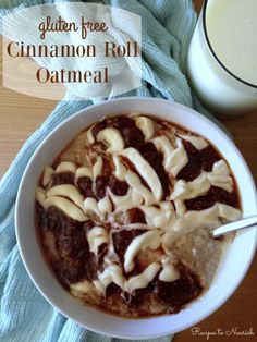 Cinnamon Roll Oatmeal ... delectable breakfast with soaked gluten free oats, no refined sugars   topped with cinnamon swirl   cream cheese glaze. Click here for the recipe. | Recipes to Nourish