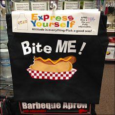 """Bite Me"" BBQ Apron Invitation to Buy on Grid Hook"