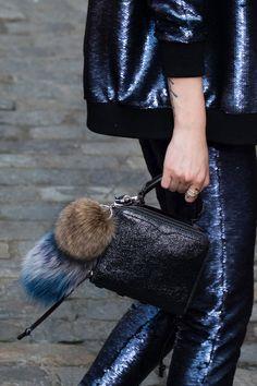 #accessories #rebecca #minkoff #mini #bag #fur #pom-pom #nyfw #black #glitter #leather