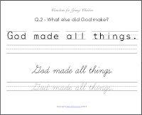 Classical Copywork: Catechism for Young Children - Beginner Copywork