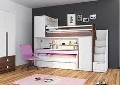 Patrová postel s psacím stolem pro holky New Tower-pink