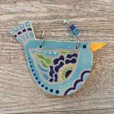 ceramic bird ornament | handmade | indoor/outdoor wall hanging | plant ornament by ElizabethCahillClay on Etsy https://www.etsy.com/listing/535274892/ceramic-bird-ornament-handmade
