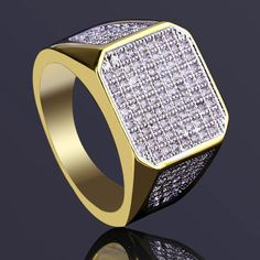 MENS 18K GOLD FILLED BOLD EXECUTIVE LAB DIAMONDS SIZE 7,8,9,10,11,12,13 RING