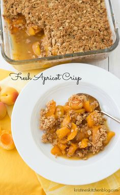Fresh Apricot Crisp - sweet-tart and juicy apricots, with a hint of cinnamon and ginger | Kristine's Kitchen