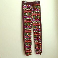 New Pair Of Aztec Print Joggers price for 1 Here's a very unique approach to the infamous joggers trend. These are a multi color Aztec print black faux leather stripe on both sides and finish with elastic band on waist and ankle. They're  very fitting for any occasion. They're 92% polyester 8% spandex which makes them light weight and wearable in any weather. They run small no stretch. These are a fast selling item at my boutique so get them here while in stock. Prices for posh are firm…