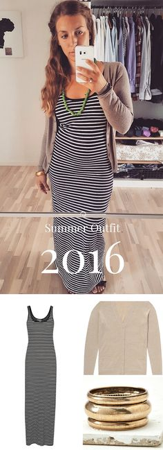 Summer Outfits 2016! Mix a simple Maxi dress with a cardigan and cool necklace