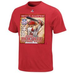 MLB Majestic Bryce Harper Washington Nationals 2012 MLB National League Rookie of the Year T-Shirt - Red Majestic. $23.95