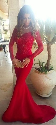 2017 red prom dresses, Long sleeve lace prom dresses, Mermaid prom dresses, sexy prom dresses, chiffon prom dresses, prom dresses 2017 -  Ok Bridal Store Dresses