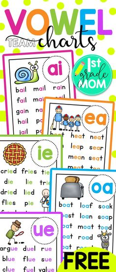 Vowel Team Printables Free First Grade Reading Printables. Check out these free printable vowel team charts for first grade! These colorful charts include words for students to practice reading and cover ai, ea, ie, oa, and ue words. teach child to read Centers First Grade, First Grade Phonics, First Grade Science, First Grade Worksheets, First Grade Writing, First Grade Activities, Teaching First Grade, 2nd Grade Reading, First Grade Classroom