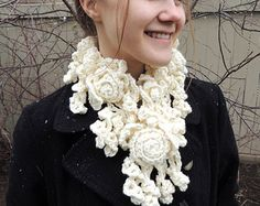 Check out our lace scarf selection for the very best in unique or custom, handmade pieces from our scarves & wraps shops. Diy Scarf, Lace Scarf, Scarf Wrap, Rose Lace, Neck Warmer, Burlap Wreath, Merino Wool, Crochet Necklace, Trending Outfits