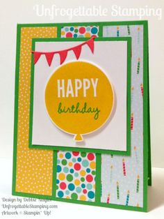 Unfrogettable Stamping |  QE birthday card featuring the Celebrate Today stamp set with coordinating Big Shot Balloons framelits and Cherry on Top DSP stack by Stampin' Up! for week of 2015-08-24