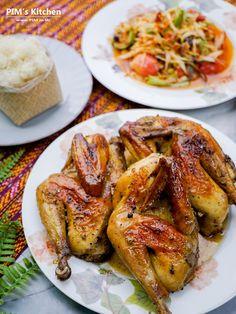 ครัวบ้านพิม - ไก่โคราช อบเนยพริกไทยดำ Thai Cooking, Roasted Chicken, Chicken Wings, Side Dishes, Stuffed Peppers, Meat, Recipes, Food, Baked Chicken