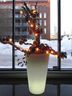 Arrangement de Noël dans un pot lumineux au «Le Maître de Chai», Montréal. Concept et réalisation par Alphaplantes. http://www.alphaplantes.com/  #Alphaplantes #Noël #Christmas #Xmas #Cristmasholidays #Design #Hiver #Winter #Arrangement #Lumière #Lights