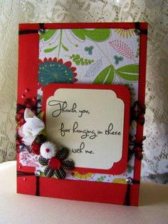 THANK YOU greeting card  handmade shabby red