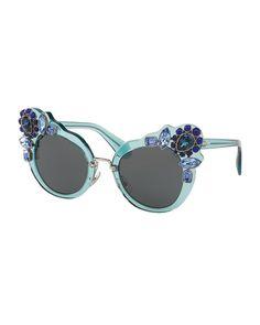 Monochromatic Embellished Dramatic Cat-Eye Sunglasses by Miu Miu at Neiman Marcus. Bergdorf Goodman, Blue Sunglasses, Mirrored Sunglasses, Neiman Marcus, Miu Miu Glasses, Versace, Transparent Sunglasses, Prada, Perfect Cat Eye