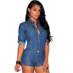 New Womens Casual Short Denim Jumpsuit Jeans Romper Overall Shorts Playsuit OK in Clothing, Shoes & Accessories, Women's Clothing, Jumpsuits & Rompers Jean Romper, Denim Playsuit, Short Playsuit, Short Jumpsuit, Playsuit Romper, Denim Jumpsuit, Bodysuit Shorts, Bodycon Jumpsuit, Overall Shorts