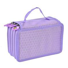 Newcomdigi portalápices 72 Inserción de capacidad grande estupenda de múltiples capas Caja de lápiz de estudiantes bolso de la pluma bolsa de caso estacionario bolso del caso de maquillaje cosmético Color violeta