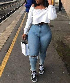 Ριηтєяєѕт: thick girl fashion, curvy fashion, plus size fashion, style Thick Girls Outfits, Curvy Girl Outfits, Style Outfits, Mode Outfits, Tomboy Outfits, Plus Size Outfits, Trendy Outfits, Fashion Outfits, Fashion Trends