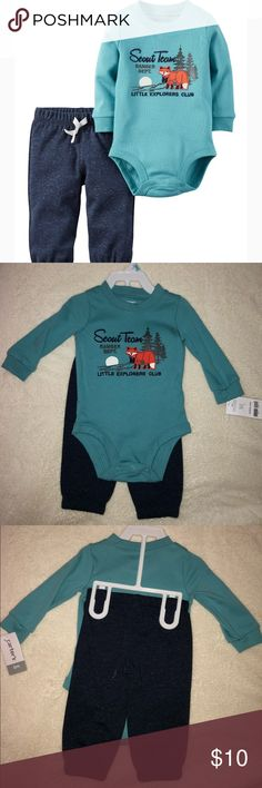 """Carter's Baby Boy Sweatsuit Set - 6 months Brand new 2-piece set from Carter's!  Ribbed cuffs Embroidered """"LITTLE EXPLORERS"""" design Fox appliqué Nickel-free snaps on reinforced panel No-pinch elastic waistband Cinched cuffs Nonfunctional drawstring Fabric & care 100% cotton interlock Carter's Matching Sets"""