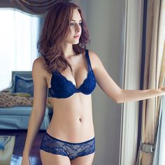 2016 NEWEST Women A B C Cup Push Up Bra Set Sexy V -Neck Plunge Lace Bra  Briefs  lace bra sexy lingerie bra Free Shipping