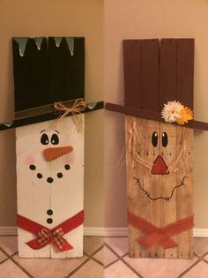 Super cute wooden scarecrow / snowman! Great for indoor or outdoor. Varnished with a clear coat. I can also do a single sided one for 40. Can be made out of pine wood but doesnt have the character. Standard size 40 by 15 inches.