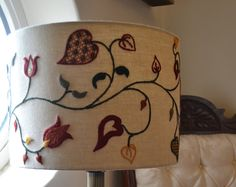 Kit: Tendrils Crewelwork Autumn / Fall Lampshade - Hand Embroidery
