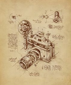 Macedonian artist Enkel Dika has killer illustrations for creative inspirations. We chose our favorite—LEONARDO DA VINCI'S CAMERA, of course. See more of the artist's work right here. Hope you discovered something new with us today! Camera Drawing, Camera Art, Illustrations Techniques, Technical Illustrations, Art Encadrée, Patent Drawing, Canvas Art, Canvas Prints, Technical Drawing