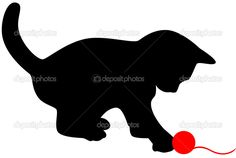 Vektor-illustration Little cat playing with red clew. Applique Patterns, Quilt Patterns, Cat Template, Templates, Cat Quilt, Animal Quilts, Cat Silhouette, Illustration, Scroll Saw Patterns