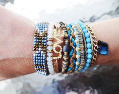 blue and bronze brazilian bracelet, boho style, multi strand wristband, magnetic clasp closure, hippie cuff, summer bracelet by What2WearByNana on Etsy