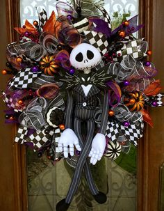 Jack Skellington, The Nightmare Before Christmas wreath for Halloween  www.facebook.com/southernsass