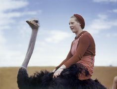 A portrait of a woman riding an ostrich in South Africa, August 1942. PHOTOGRAPH BY W. ROBERT MOORE, NATIONAL GEOGRAPHIC
