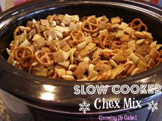 Slow Cooker Chex Mix   3 cups each of corn, rice, and wheat Chex cereal  1 cup toasted O's cereal (Cheerios)  1-2 cups pretzels  1-2 cup nuts  4 Tablespoons butter  2 Tablespoon Worcestershire sauce (Lea and Perrin's does not contain MSG)  1½ teaspoons seasoned salt  ¾ teaspoon garlic powder  ½ teaspoon onion powder