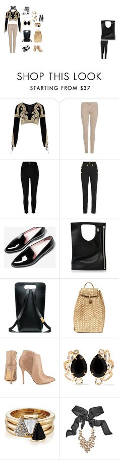 Chic casual by maryth230 on Polyvore featuring For Love & Lemons, 7 For All Mankind, Balmain, River Island, Steve Madden, Alix, Bounkit, Brixton, GUESS by Marciano and Noir Jewelry