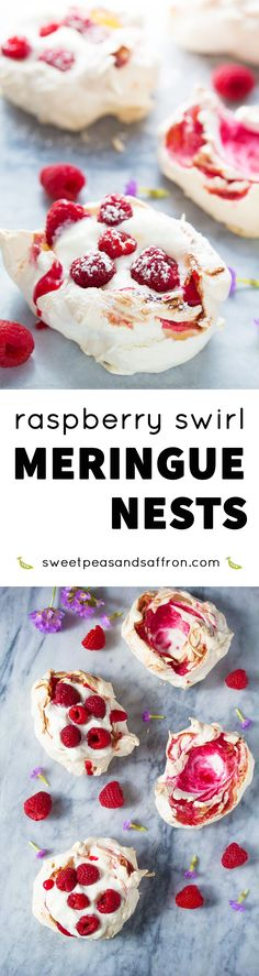 These swirled raspberry meringue nests are topped with whipped cream and fresh berries, are gluten-free, and only 120 calories each!