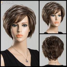 Short Bouncy Straight Inclined Bang Mixed Color Siv Human Hair Wig