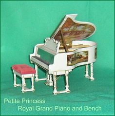 Royal Grand Piano  and Piano Bench Vintage  Petite Princess Dollhouse Furniture Ideal by EttasEmporium on Etsy