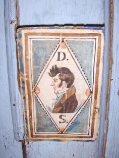 """Early style bookplate of a gentleman, """"D.S."""" by Steve Shelton. Painted on an early marbleized book cover. Available at Whitehorse Antiques, Rocheport, Mo. Contact us for details: 573-698-2088. Copyright Steve Shelton. (SOLD)"""