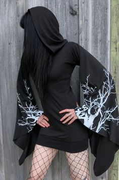 Girls hooded drape tunic dress. Made from scratch with black stretch cotton blend. White branch print on flared, drapey sleeves, giant hood, and